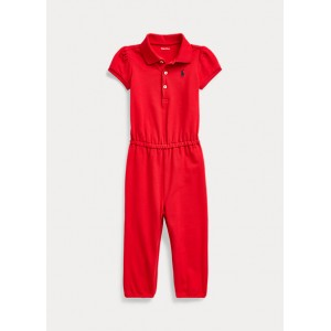 Cotton Mesh Polo Romper