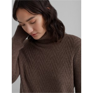 Mixed Stitch Cashmere Turtleneck Sweater