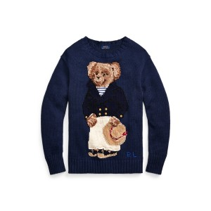 Polo Bear Cotton-Blend Sweater Navy