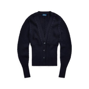 Ribbed Merino Wool Cardigan Piper Navy