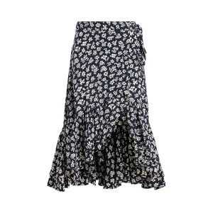Floral Crepe Wrap Skirt