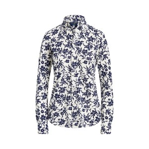 Floral Cotton Button-Down Shirt 883 Navy/Cream Floral