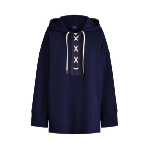 Lace-Up Fleece Hoodie Cruise Navy