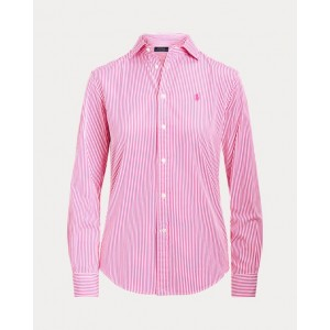 Classic Fit Striped Cotton Shirt 909a Pink/White