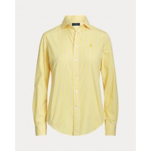 Classic Fit Striped Cotton Shirt 915 Yellow/White