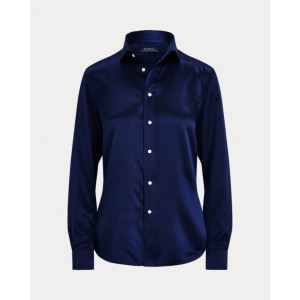 Silk Charmeuse Shirt Dark Cobalt