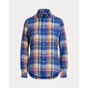 Classic Fit Plaid Linen Shirt 943 Blue/Pink