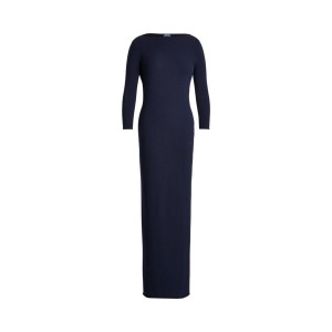 Cashmere Boatneck Dress Hunter Navy
