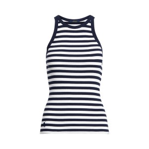 Striped Cotton Tank Top White/Cruise Navy