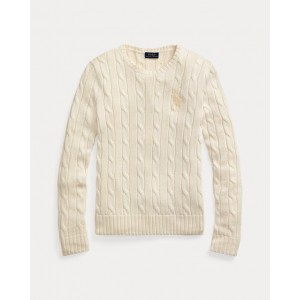Beaded-Pony Cable-Knit Sweater Cream