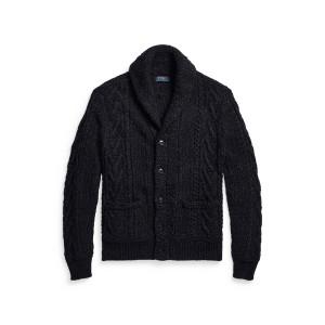 Aran Knit Cotton Blend Shawl Cardigan