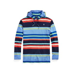 Striped Jersey Hooded T Shirt