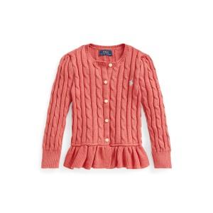 Cable Knit Cotton Peplum Cardigan