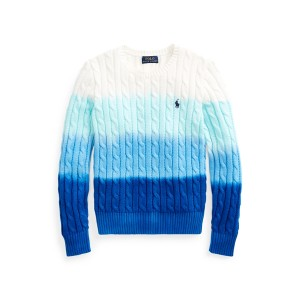 Dip Dyed Cable Knit Cotton Sweater