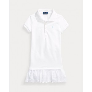 Eyelet Stretch Mesh Polo Dress