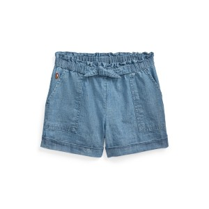 Cotton Chambray Camp Short Blue Indigo