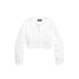 Pointelle Knit Cropped Cotton Cardigan