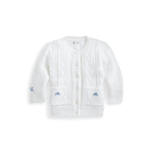 Pointelle Knit Cotton Cardigan
