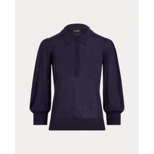 Silk-Blend Puff-Sleeve Sweater French Navy