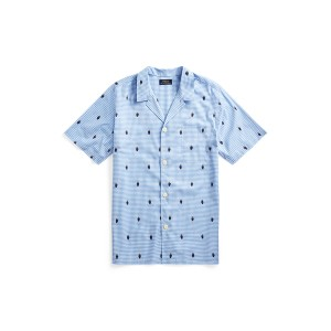 Polo Bear Gingham Pajama Shirt