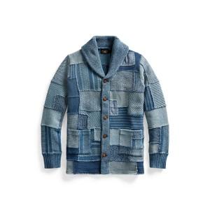 Indigo Patchwork Cotton Linen Cardigan