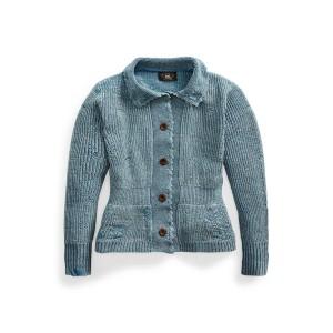 Repaired Indigo Cotton Linen Cardigan