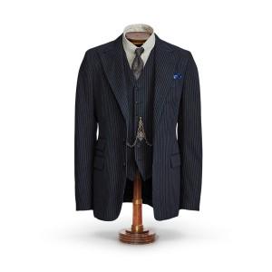 Indigo Striped Herringbone Suit Jacket