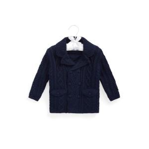 Aran Knit Cotton Blend Cardigan Coat