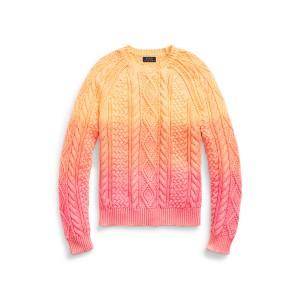 Dip Dyed Aran Knit Cotton Sweater