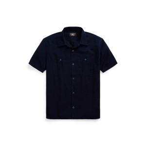Indigo Seersucker Camp Shirt