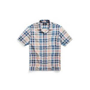 Indigo Plaid Woven Camp Shirt