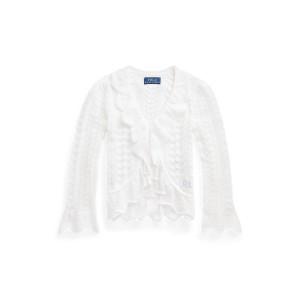 Ruffled Pointelle Knit Cotton Cardigan