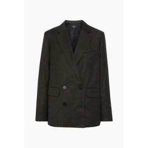 Dark brown Double-breasted wool-flannel blazer