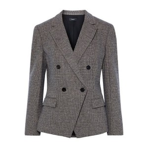 Beige Double-breasted houndstooth woven blazer