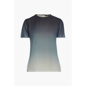 Midnight blue Degrade silk crepe de chine top
