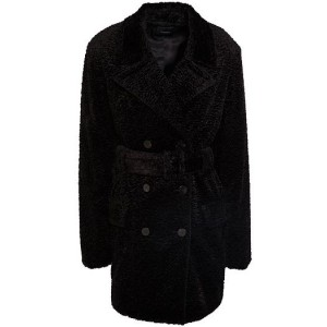 Black Double-breasted belted faux fur coat