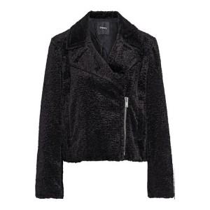 Black Faux fur biker jacket