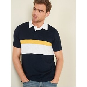 Slub-Knit Color-Blocked Short-Sleeve Rugby Polo for Men