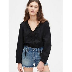 Embroided Tie-Front Top in Linen-Cotton