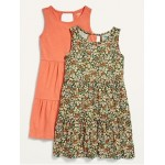 2-Pack Sleeveless Tiered Jersey Dress for Girls