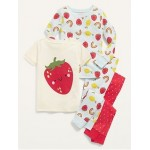 Unisex Graphic 4-Piece Pajama Set for Toddler & Baby