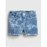 Toddler Elasticized Pull-On Tie-Dye Denim Shortie Shorts with Stretch
