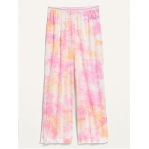 Elastic-Waist Soft-Woven Wide-Leg Pajama Pants for Women