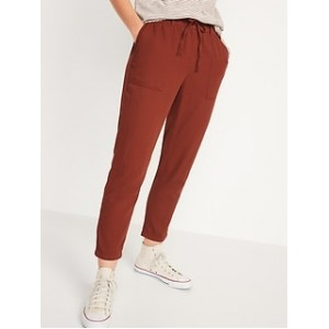High-Waisted Textured-Twill Utility Ankle Pants for Women
