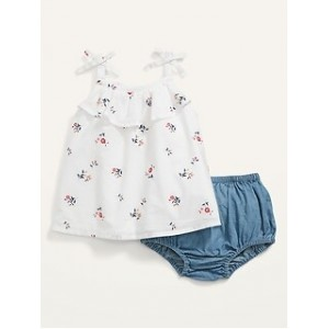 Sleeveless Floral Top and Bloomers Set for Baby