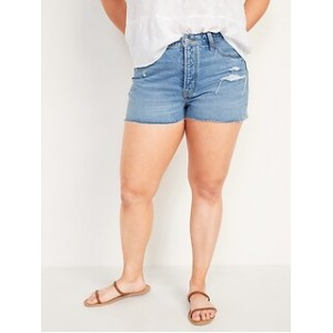 High-Waisted O.G. Straight Ripped Cut-Off Jean Shorts for Women -- 1.5-inch inseam