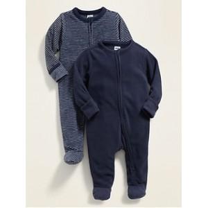 Unisex Micro Fleece Footie Pajama One-Piece 2-Pack for Baby