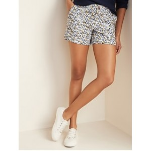 Mid-Rise Everyday Patterned Twill Shorts for Women -- 5-inch inseam