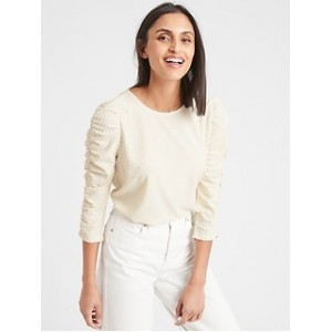 Textured Dot Shirred-Sleeve Top