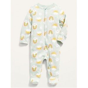 Unisex Printed Fold-Over Mitten Footed One-Piece for Baby